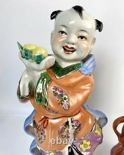 Large 14-15H Famille Rose Chinese 20th Century Porcelain Child Figurines(2)