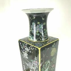 Large 18.5 Chinese porcelain Kangxi Mark Famille Noire Vase