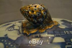 Large 18th Century Antique Chinese Export Octagonal Nanking Covered Tureen