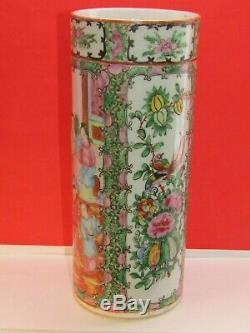 Large 19C Rose Medallion Oriental Brush Pot /Vase Famille Rose 10