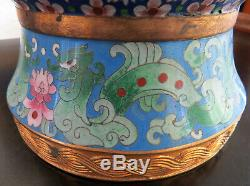 Large 20 Cloisonne Vase Cranes Floral Pattern Asian Oriental