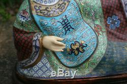 Large 20th Century Chinese Bronze Cloisonne Enamel Buddha Figurine Statue