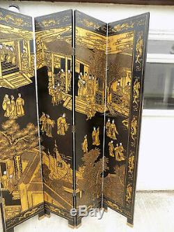 Large, 8'W x 7'H, vintage, six fold, chinese, laquered, room divider, gold, black, screen