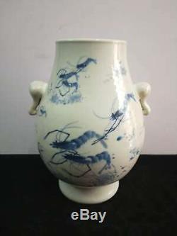 Large Amazing Chinese Porcelain Shrimp Vases Hand-carving Bottle Marks GuangXu