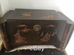 Large Antique Camphor Wood Exquisitely Carved Chest / Trunk Collection Only