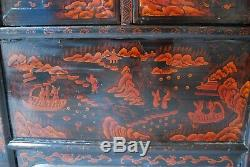 Large Antique Chinese Black & Orange Cabinet with Original Paintings c. 1910