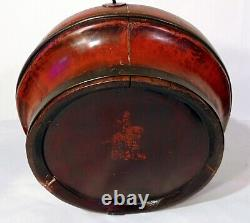 Large Antique Chinese Carved Gold Red Lacquer Wedding Basket Dragons Bats Box