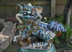 Large Antique Chinese Ceramic / Pottery Roof Tile Foo Dog Lion