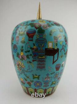 Large Antique Chinese Cloisonne Ginger Jar early 19th century