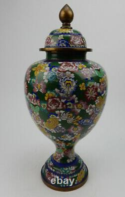 Large Antique Chinese Cloisonne Lidded Jar early 19th century