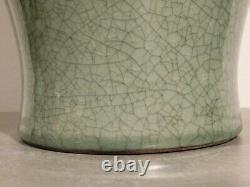 Large Antique Chinese Crackled Glaze Celadon Meiping Vase Qing Dynasty