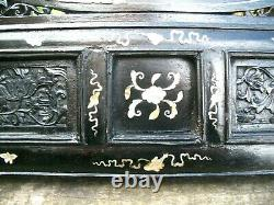 Large Antique Chinese Ebonised Carved And Inlaid Hanging Wall Panel