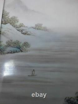 Large Antique Chinese Famille Rose Porcelain Plaque