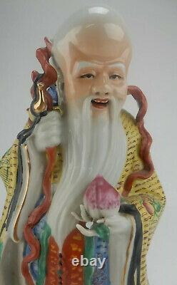 Large Antique Chinese Famille Rose Shou Lao Immortal Figure Statues 14