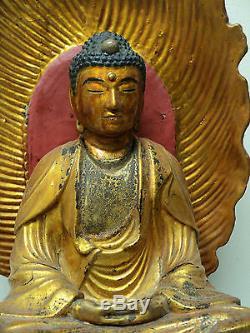 Large Antique Chinese Hand Carved Wood Gilt Decorated Buddha Figure & Shrine