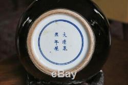 Large Antique Chinese Kangxi Mark & Period Mirror-black Glazed Tianquiping Vase