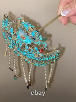 Large Antique Chinese Kingfisher Feather Hairpin 8