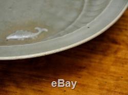 Large Antique Chinese Ming Longquan Celadon Glaze Molded Fish Porcelain Plate