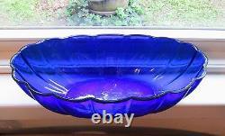 Large Antique Chinese Peking Glass Bowl Cobalt Blue