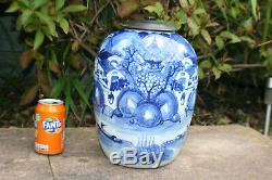 Large Antique Chinese Porcelain Blue and White Landscape Picture Jar Vase with Lid