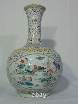 Large Antique Chinese Porcelain Famille Verte Bottle Vase Ducks Yellow 18 1/2