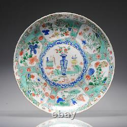Large Antique Chinese Porcelain Famille Verte dish Flowers Landscape Kangxi P