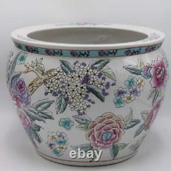 Large Antique Chinese Porcelain Lotus Flower Koi Fish Bowl Garden Planter