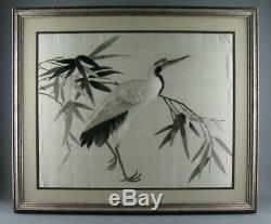 Large Antique Chinese Silk Embroidery Panel Picture Crane Stork Bird 1920s