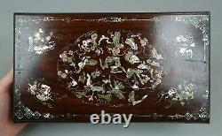 Large Antique Chinese Wood & Mother Of Pearl Inlays Game Box 19th C