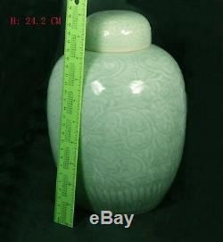 Large Antique Qing Dynasty Chinese Relief Decorated Celadon Glazed Jar withlid