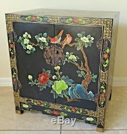 Large Antique/Vtg Chinese Black Lacquer Jewelry Box Chest Cabinet Side/End Table