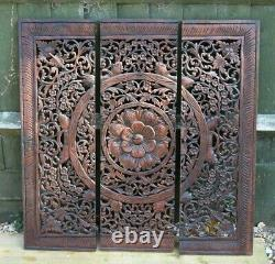 Large Asian Style Wooden Hand Carved 3 Section Hanging Wall Panels