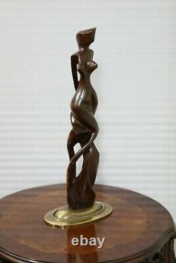 Large Beautiful Nude Abstract Art Sculpture On Gold Base Designer Signed R&G 18