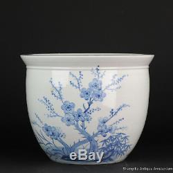 Large Blue White Chinese Porcelain Fishbowl Planter flowers & Ducks China