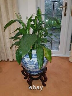 Large Blue/White Victorian Antique Pottery Vase, Wooden Stand & Plant