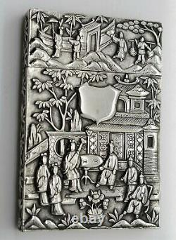 Large CHINESE EXPORT solid silver FIGURAL CARD CASE 10 figures. Wang Hing c1900