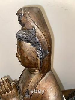 Large Carved Chinese Painted And Gilt Seated Buddha Guangying 19 Height