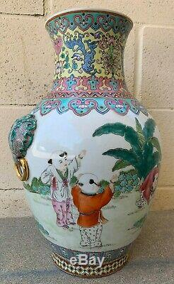 Large Chinese Antique Famille Rose Porcelain Vase With Children Playing