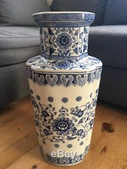 Large Chinese Blue And White Vase 50cm Marked
