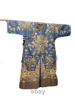 Large Chinese Blue Kesi Silk Dragon Robe (Losses)