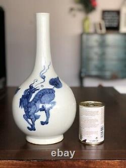 Large Chinese Blue & White Bottle Vase with 3 Mythical Beasts 19thC Kangxi mark