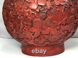 Large Chinese Cinnabar Double Gourd Vase
