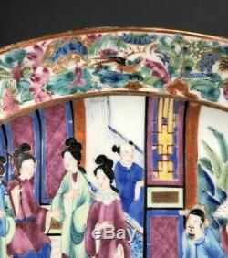 Large Chinese Export Rose Mandarin Charger Platter 19thc Perfect 11 5/8