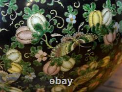 Large Chinese Famille Noire Black Ground Globular Porcelain Vase
