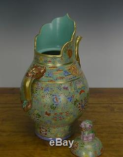 Large Chinese Famille Rose Turquoise Tibetan Monk Cap Porcelain Milk Tea Pot