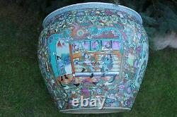 Large Chinese Fish Bowl Chinoiserie Planter Vase Circa 1930