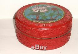 Large Chinese Floral Carved Cinnabar Lacquer Cloisonne Enamel Bowl Jar Box