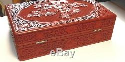 Large Chinese Floral Carved Cinnabar Lacquer Cloisonne Enamel Jewelry Trunk Box