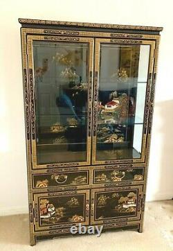 Large Chinese Furniture Black Lacquered Chinoiserie Display Cabinet 68 ins Tall