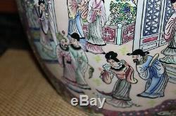 Large Chinese Garden Planter Goldfish Bowl Colorful Flowers Men Women